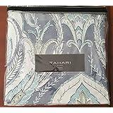 Tahari Home Reversible Full/Queen Duvet Cover Set With Two Standard Shams - Paisley Blue/White/Green