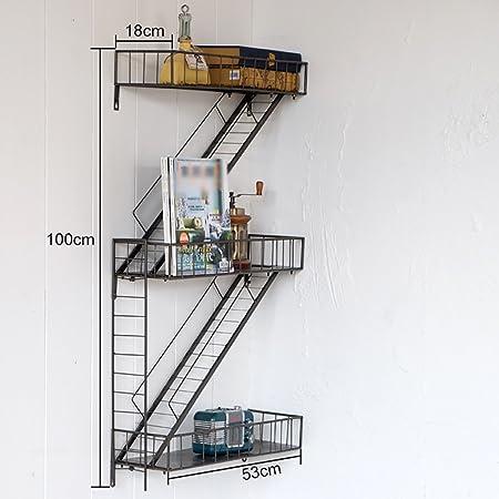 Estantería Estilo retro rústico Escalera industrial Estantería de hierro forjado Soporte de flores Separador Estante Soporte de pared: Amazon.es: Hogar