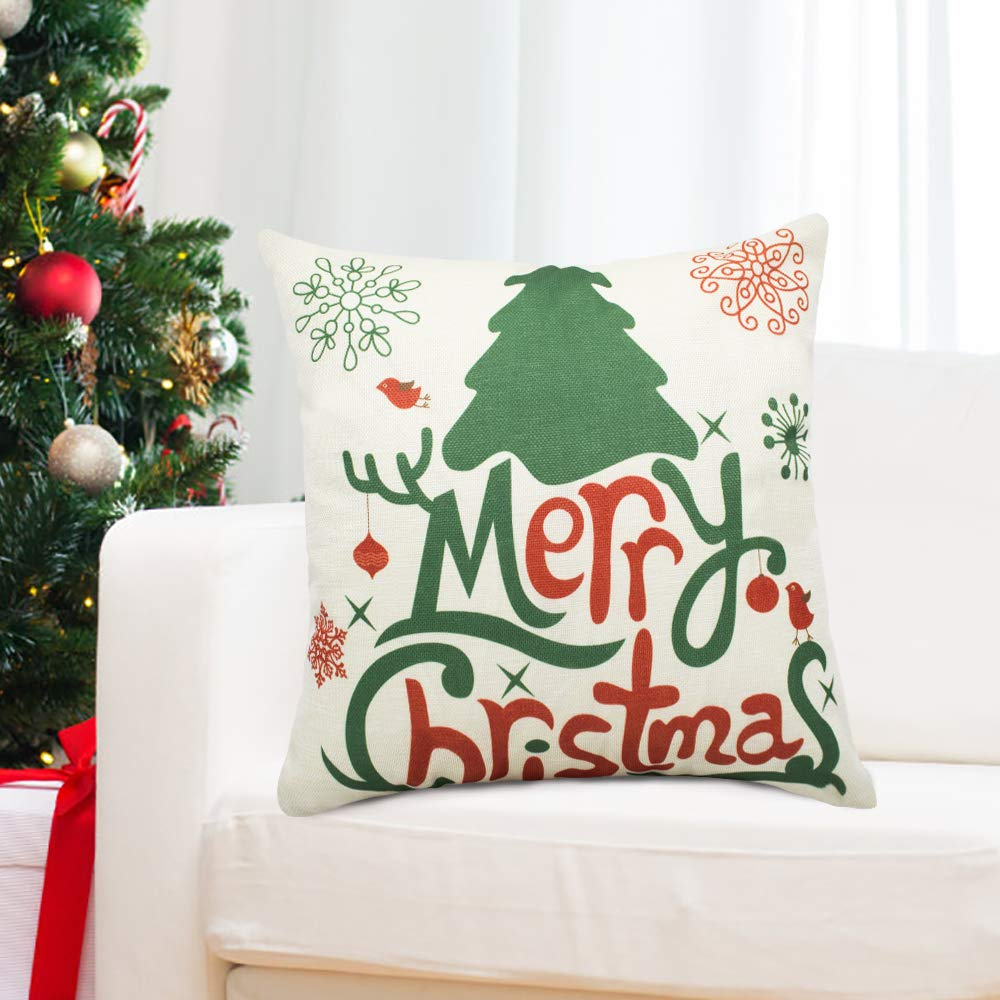 XBUTY Christmas Pillow Cover 18 X 18 Inch Snowflakes Merry Christmas Decorative Sofa Winter Throw Pillow Case Cushion Cover 1Pcs