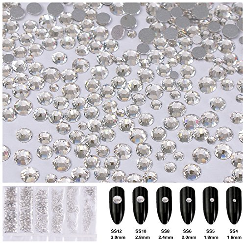 1728pcs Flatback Rhinestones Round Beads Gem Pearls for 3D Nail Art DIY Crafts Clothes Shoes Phone Case Decoration; Mixed Sizes 1.6-3mm; SS4-SS12; 6 Sizes/288pcs per Size Crystal (Gem Nail Sticker)