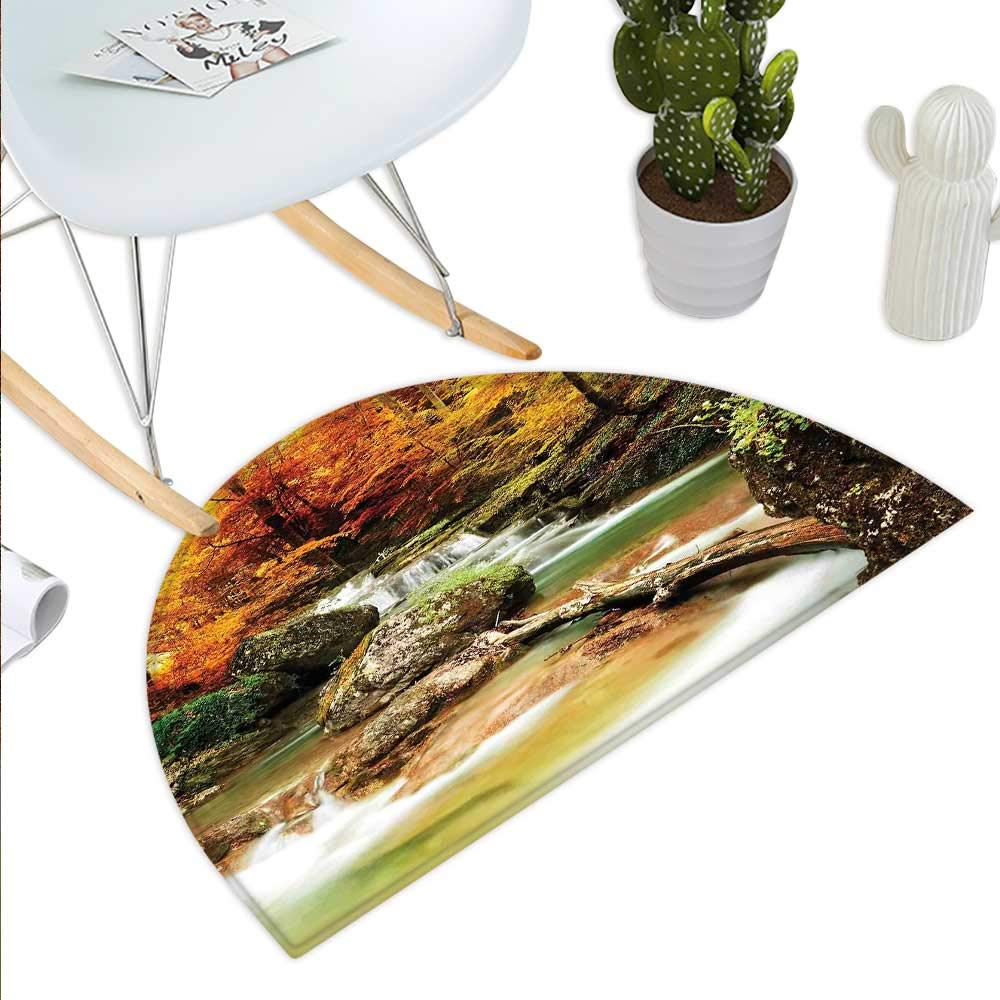 color01 H 39.3  xD 59  Waterfall Semicircle Doormat Deep Forest and Waterfall Runoff Autumn Fall Seasonal Forest Print Halfmoon doormats H 27.5  xD 41.3  orange Brown Turquoise
