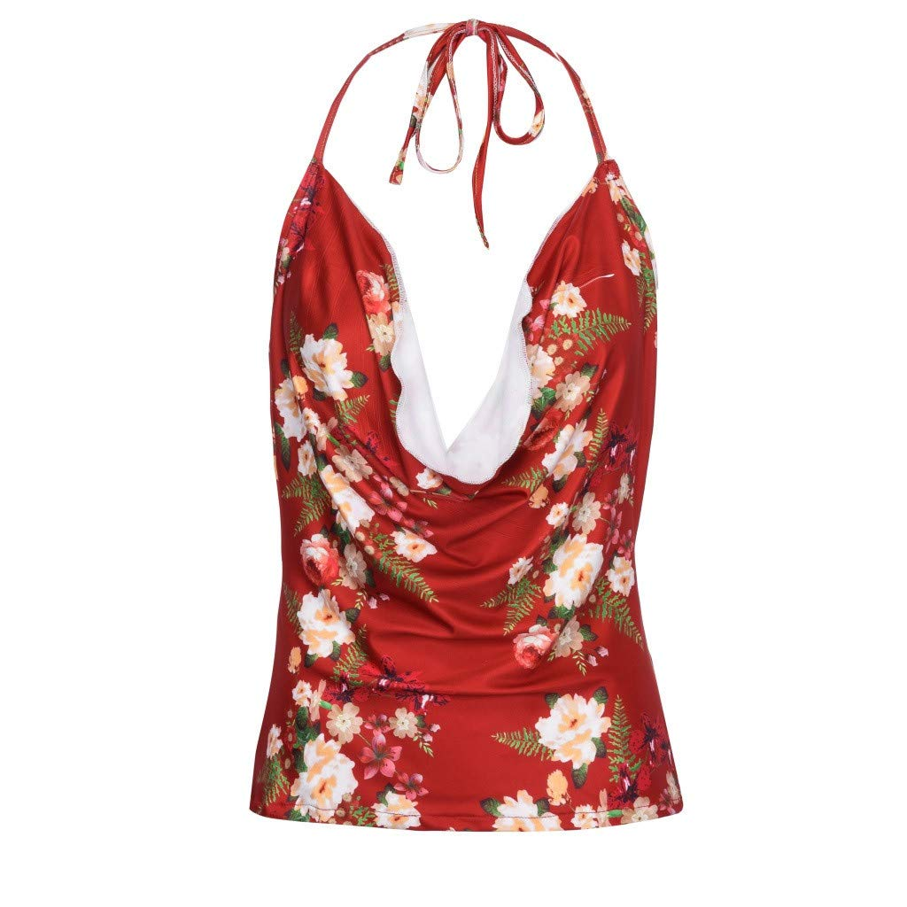 JFLYOU Womens V-Neck Halter Printing Sleeveless Camisole T-Shirt Tops Blouse(Red,XL)