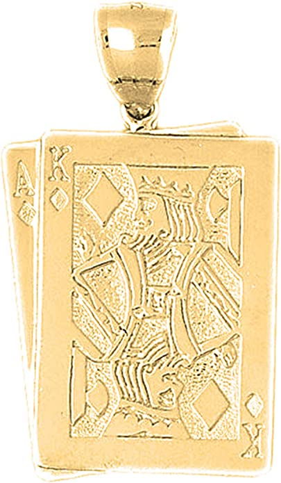 Ace Of Hearts Pendant Jewels Obsession 14K White Gold Playing Cards 16 mm