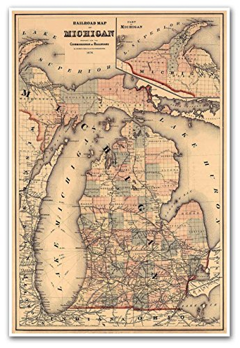Michigan Wall Map - RAILROAD MAP of MICHIGAN by O.W. Gray & Sons circa 1876 - measures 36
