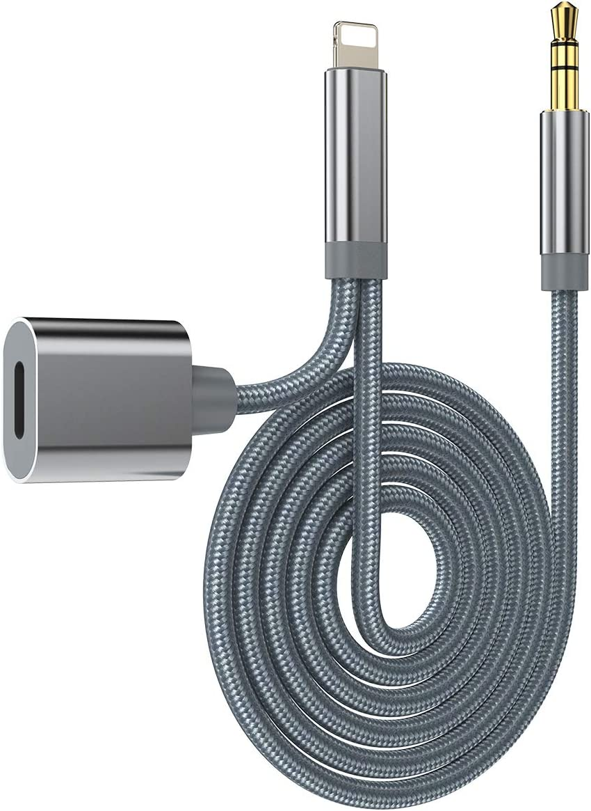 Aux Cord for iPhone with Charge Port, Car Aux Audio Cable for iPhone 11/11 Pro/X/XS/XR/XS MAX/8/8P/7/7P with Charging Function,Aux and Charge Cable for iPhone Support iOS 11/12/13 and Above (Grey)