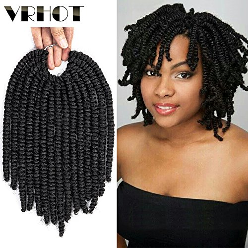 "VRHOT 8"" 6Packs Afro Kinky Twist Crochet hair Havana Mambo Twist Crochet Braids Senegalese Twist Synthetic Hair Extensions Dreadlocks Black Curly Hair Products for Women 8 inch"