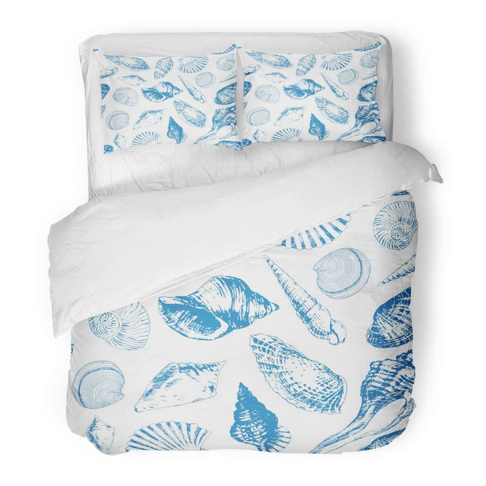 White Duvet Cover Set with Pillow Shams Polar Bears Seal Penguins Print