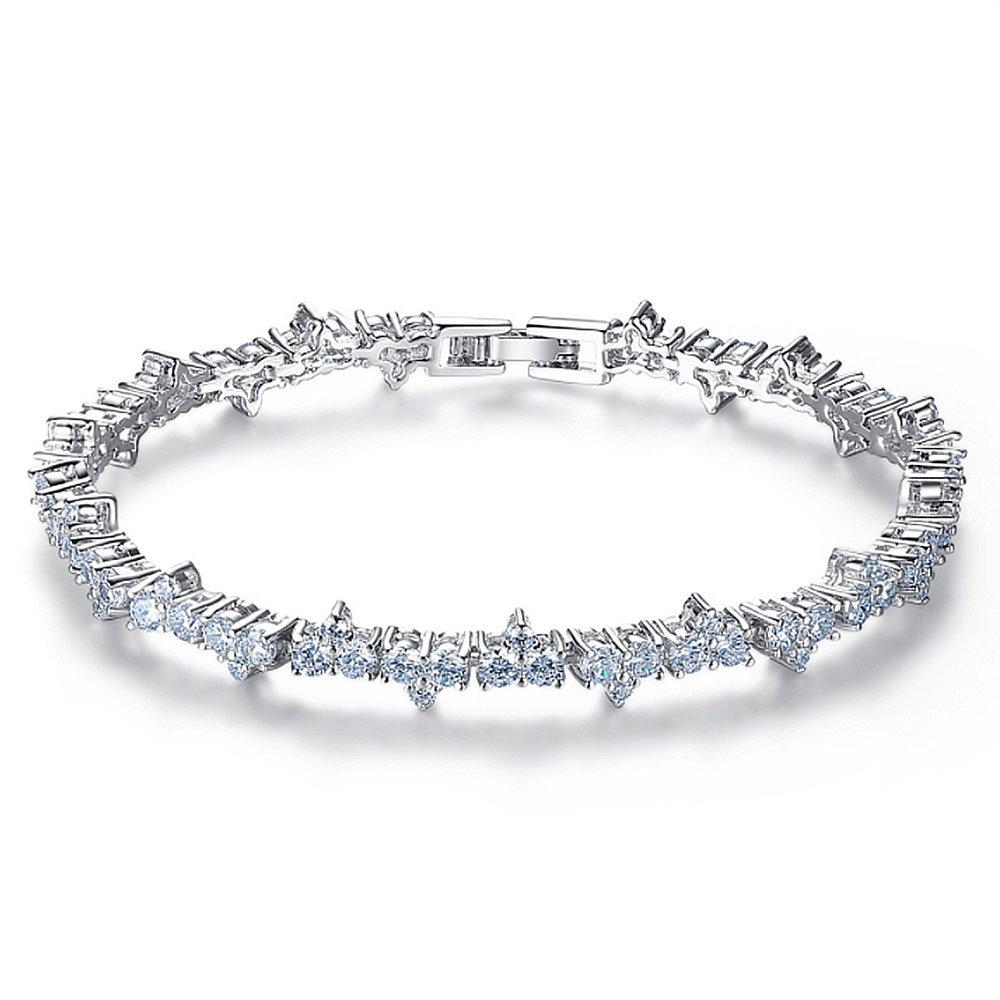 Crystal Platinum Plated Cubic Zirconia Bracelet, Tennis Bracelets for Women by LEMON