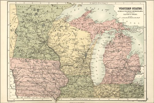 Wisconsin Antique Map (24x36 Poster - Map Of Michigan, Wisconsin, Minnesota, Iowa 1873 (antique reproduction))