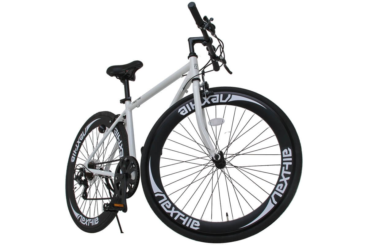 NEXTYLE(ネクスタイル)700Cクロスバイク アルミフレーム シマノ7段変速 ディープリム 前輪クリックリリースNEXTYLE CNX-7006 B00N8G1WLYホワイト
