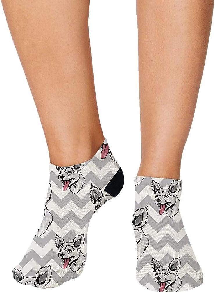 Pumi Dog Gray Zigzag Pattern Men-Women Adult Ankle Socks Crazy Novelty Socks