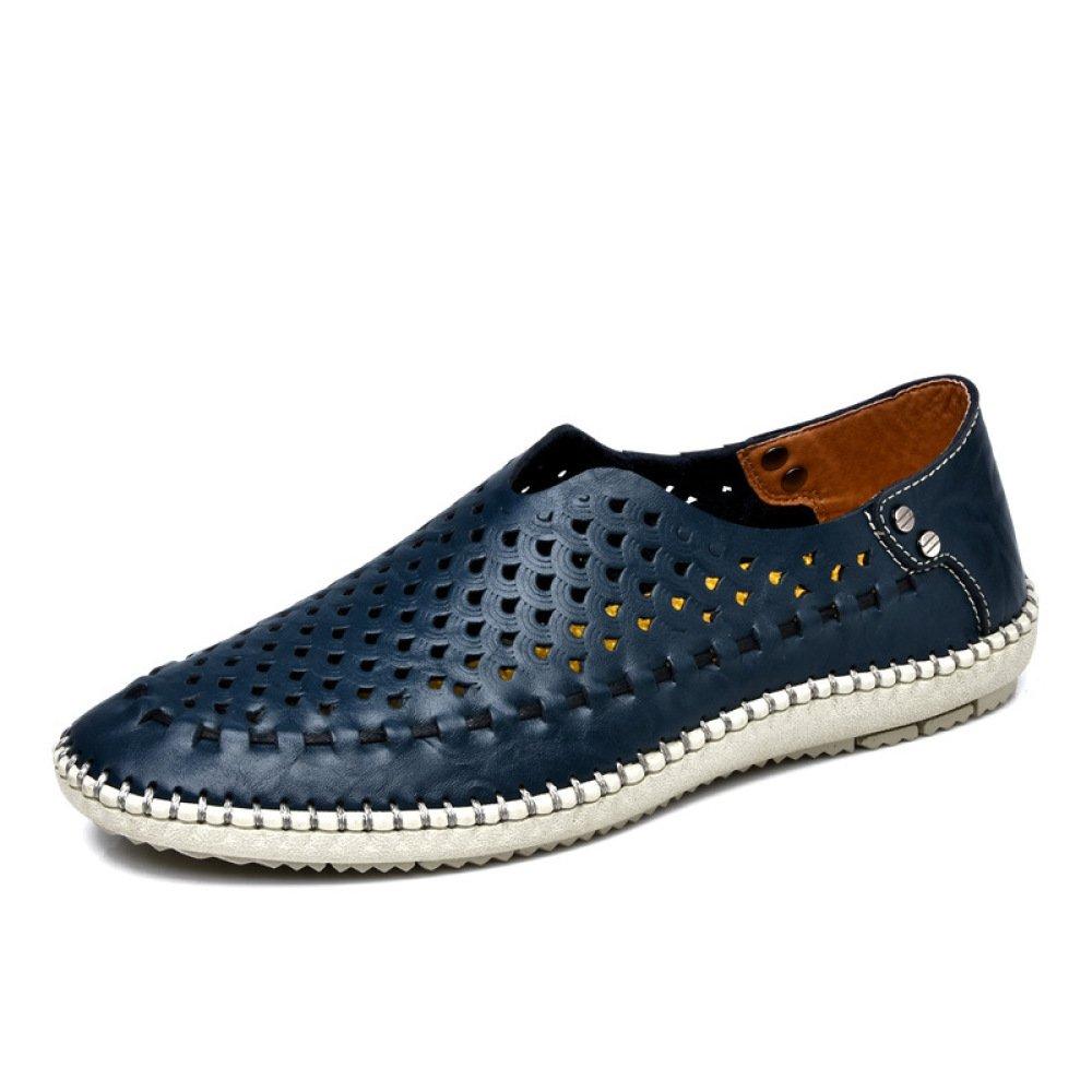 Verano Respirable Hombres Pisos Ocasional Conducción Cuero Zapatos Holgazán Deslizamiento Moda Sandalias Zapatilla,Blue-39=245mm 39=245mm|Blue