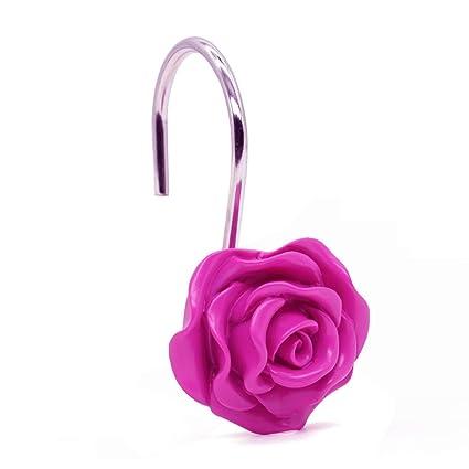 Aystuff 12 Pcs Romantic Roses Shower Curtain Hooks Georgeous Decorative Rod For Bathroom