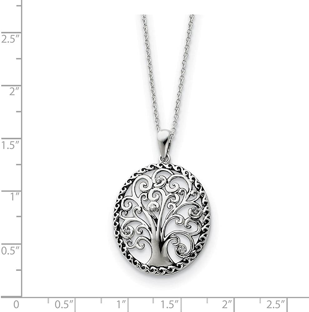 Rhodium Plated Sterling Silver Close To My Heart Necklace 18 Inch