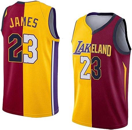 NBA Baloncesto Uniformes Los Angeles Lakers Jersey 23# Lebron James #23 Nuevo Tela Bordada Camiseta Deportivas de Jersey de verano transpirable sudadera camisa Maillots Baloncesto Multi-colored-M: Amazon.es: Hogar