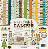 Echo Park Paper Company Happy Camper Scrapbooking Kit by Kasie Fry & Alisha Gordon 12x12 features camping/nature imagery with trees, owls, foxes, tents/campers, fish, bears, and more.