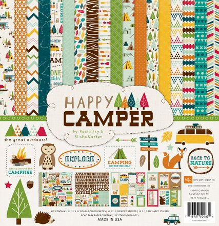 Echo Park Paper Company Happy Camper Scrapbooking Kit by Kasie Fry & Alisha Gordon 12x12 features camping/nature imagery with trees, owls, foxes, tents/campers, fish, bears, and more. by Echo Park