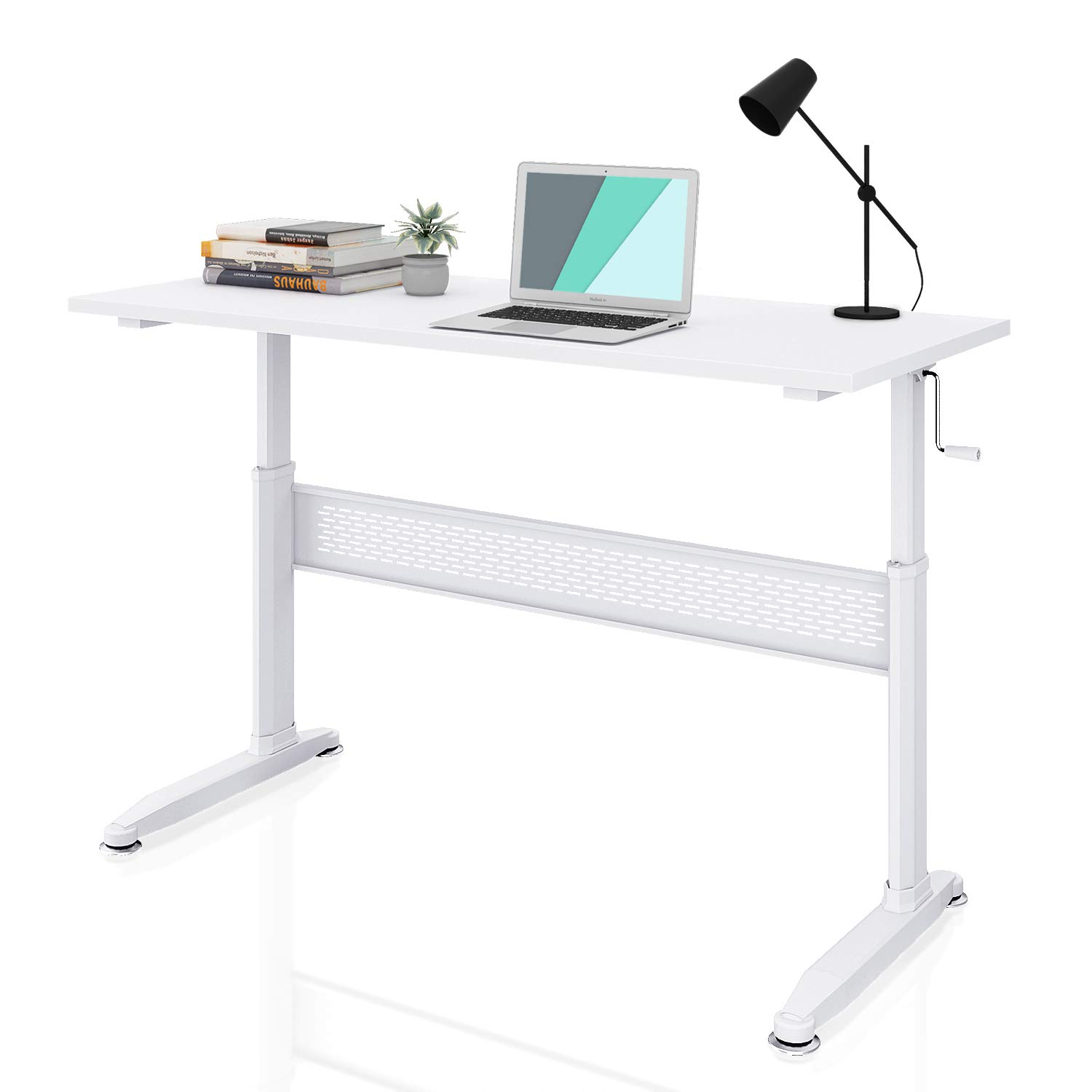 DEVAISE Adjustable Height Standing Desk 55 Inch with Crank Handle/White by DEVAISE