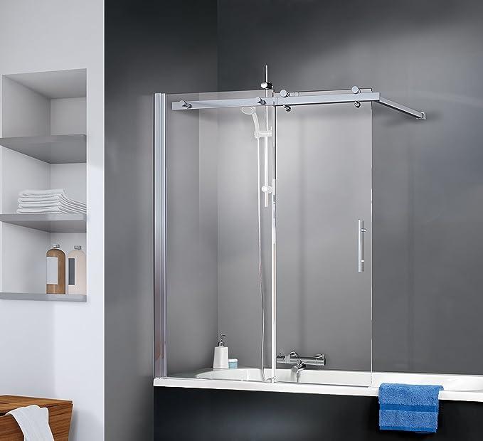 Schulte 4004514185907 Pare deslizante, mampara de bañera vidrio izquierda, perfil aspecto cromado, 120 x 150 cm, transparente: Amazon.es: Bricolaje y herramientas