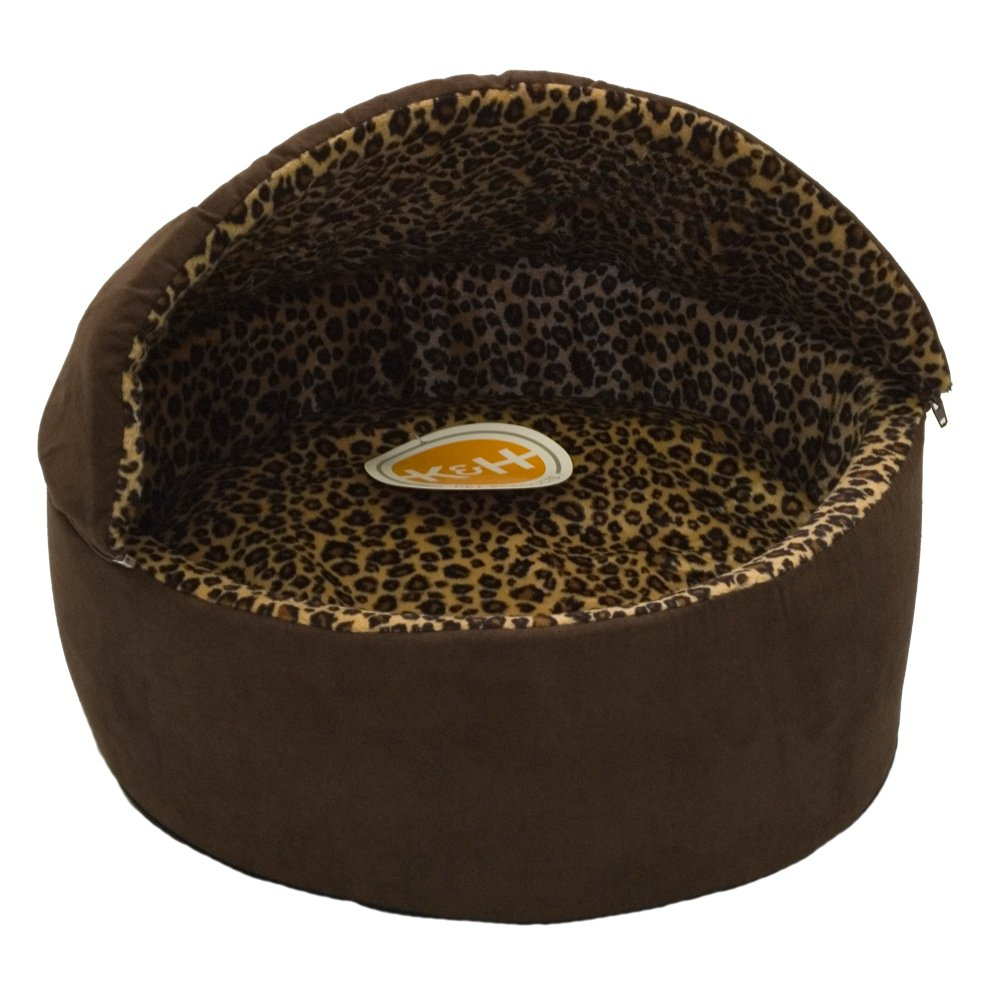 20-Inch K&H Manufacturing Thermo-Kitty Deluxe Hooded Cat Bed, Large 20-Inch, 4-Watts, Mocha Leopard