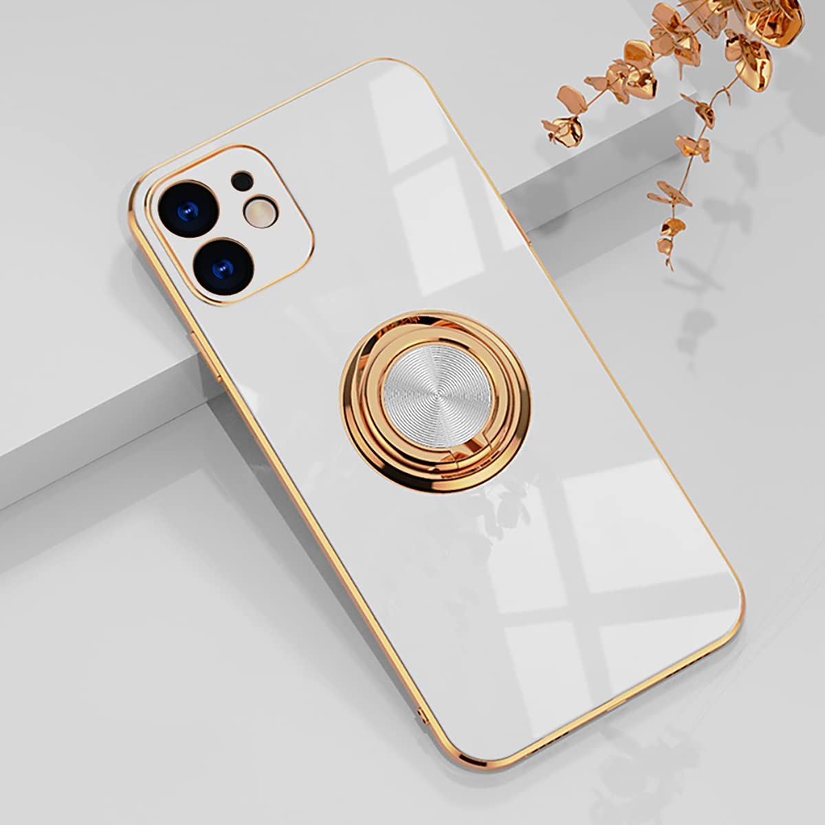 aowner Compatible with iPhone 12 Case & iPhone 12 Pro Ring Holder Case Shiny Plating Rose Gold Edge 360 Degree Rotation Kickstand for Women Girls Slim Soft Flexible TPU Protective Cover Case, 6.1 Inch