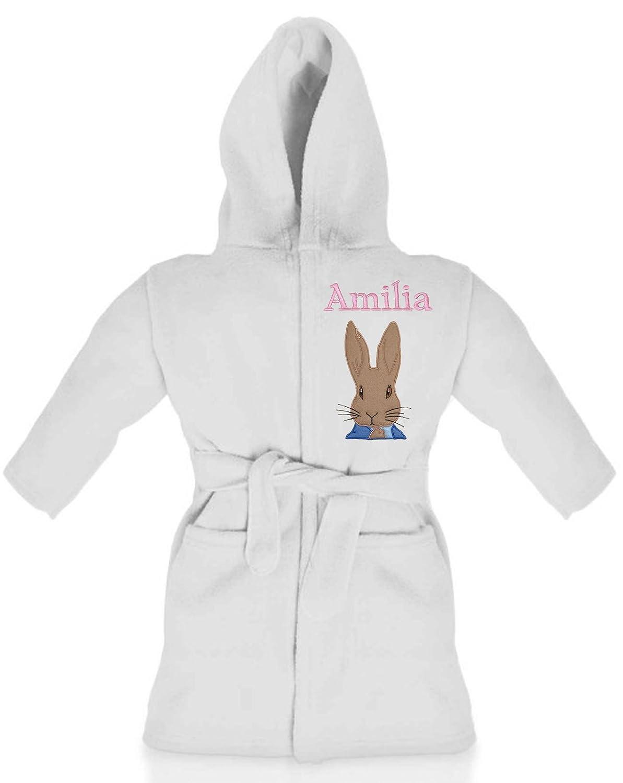 Peter Rabbit Girls Personalised & Applique Super Soft Fleece Dressing Gown/Bathrobe (White) Peter Rabbit White