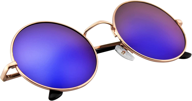Emblem Eyewear John Lennon Inspired Sunglasses Round Hippie Shades Retro Revo Colored Lenses