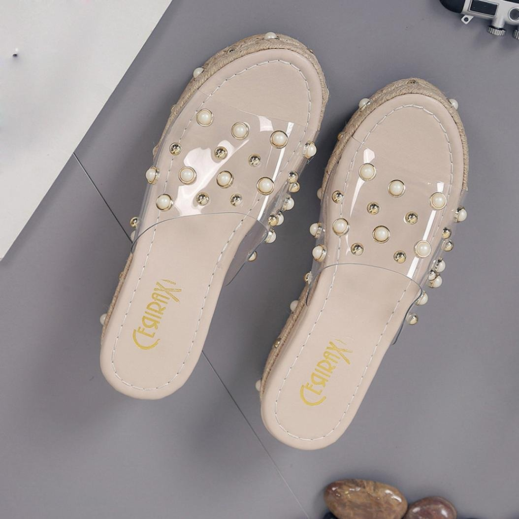 Summer Shoes,AIMTOPPY Pearl Sandals Thick Slope with Word Slipper Rhinestone Non-Slip Shoes for Women (US:5.5, Khaki) by AIMTOPPY (Image #4)