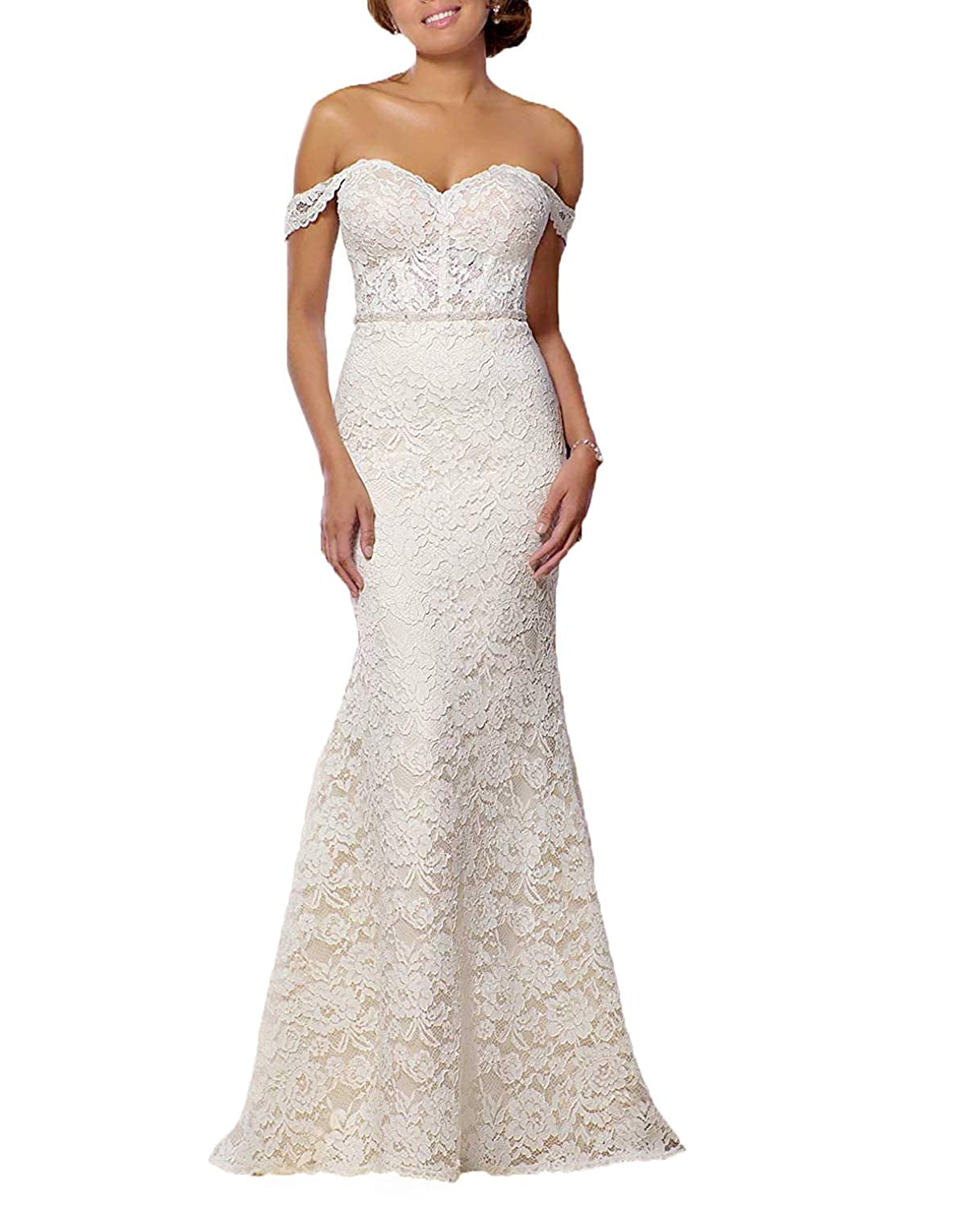 Beige Women's Lace Off Shoulder Formal Evening Gown Mermaid Prom Dress Bridesmaid