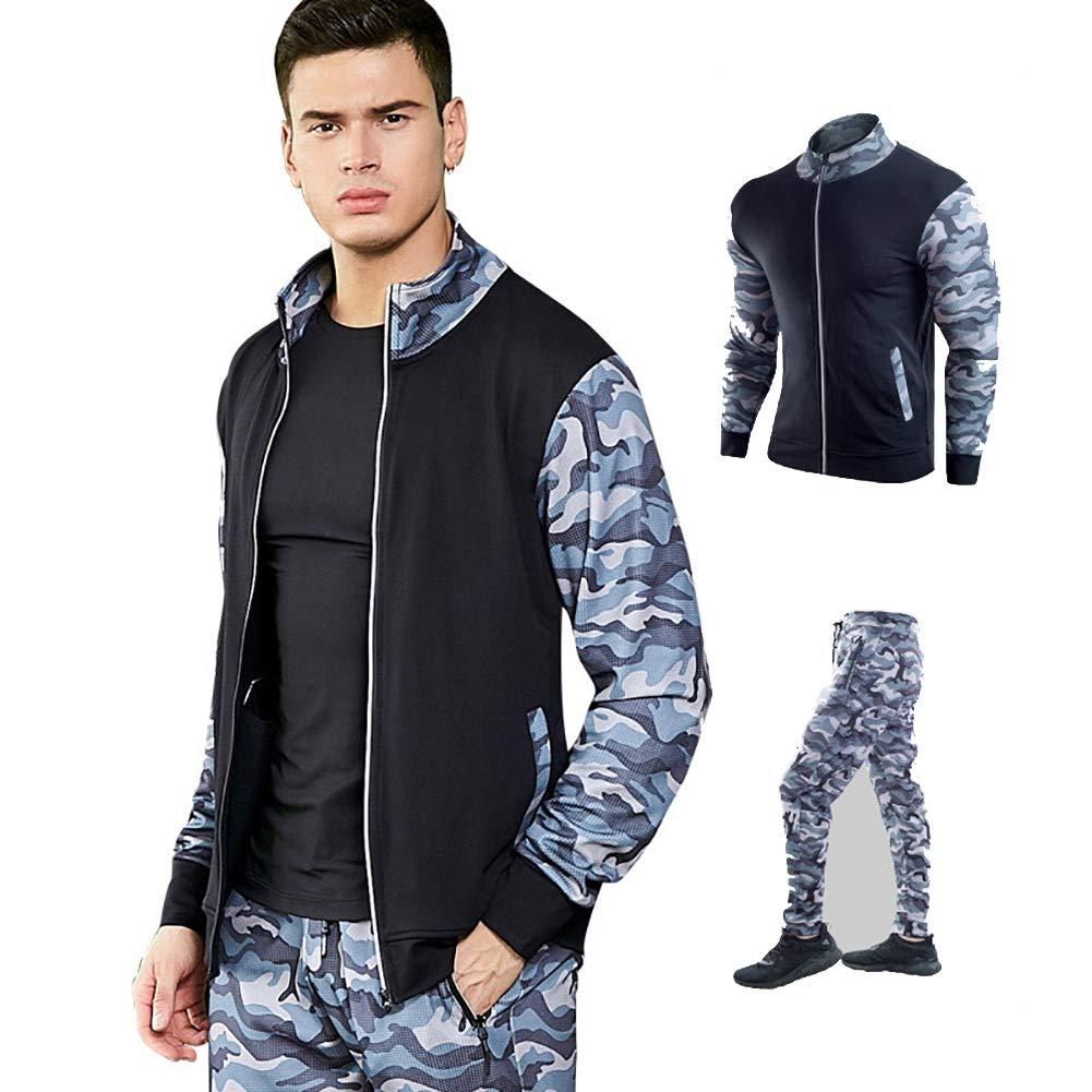 ANFitness Männer Mode Langarm Camouflage Top + Hosen Set männlichen Trainingsanzug Freien Sport Anzug Männer Fitness-Studios Set Casual Sportswear Anzug