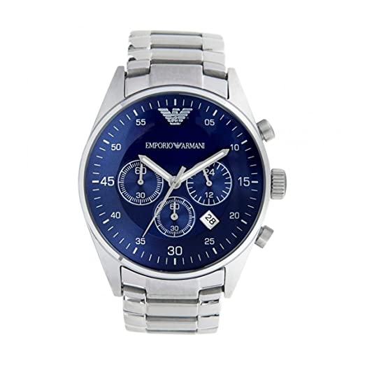 ac0fa6ff573 EMPORIO ARMANI AR5860 MEN S QUARTZ BLUE DIAL STAINLESS STEEL CHRONOGRAPH  WATCH  Amazon.co.uk  Watches