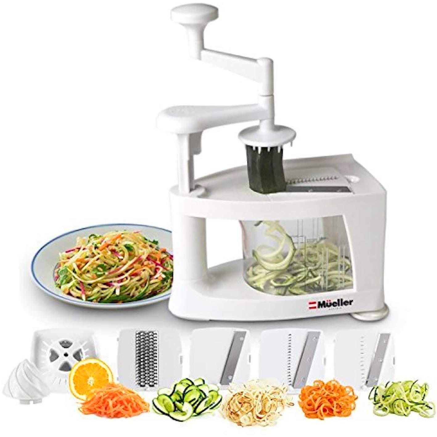 Mueller Spiral-Ultra Multi-Blade Spiralizer, 8 into 1 Spiral Slicer, Heavy Duty Salad Utensil, Vegetable Pasta Maker and Mandoline Slicer for Low Carb/Paleo/Gluten-Free Meals Heavy Duty Spiralizer