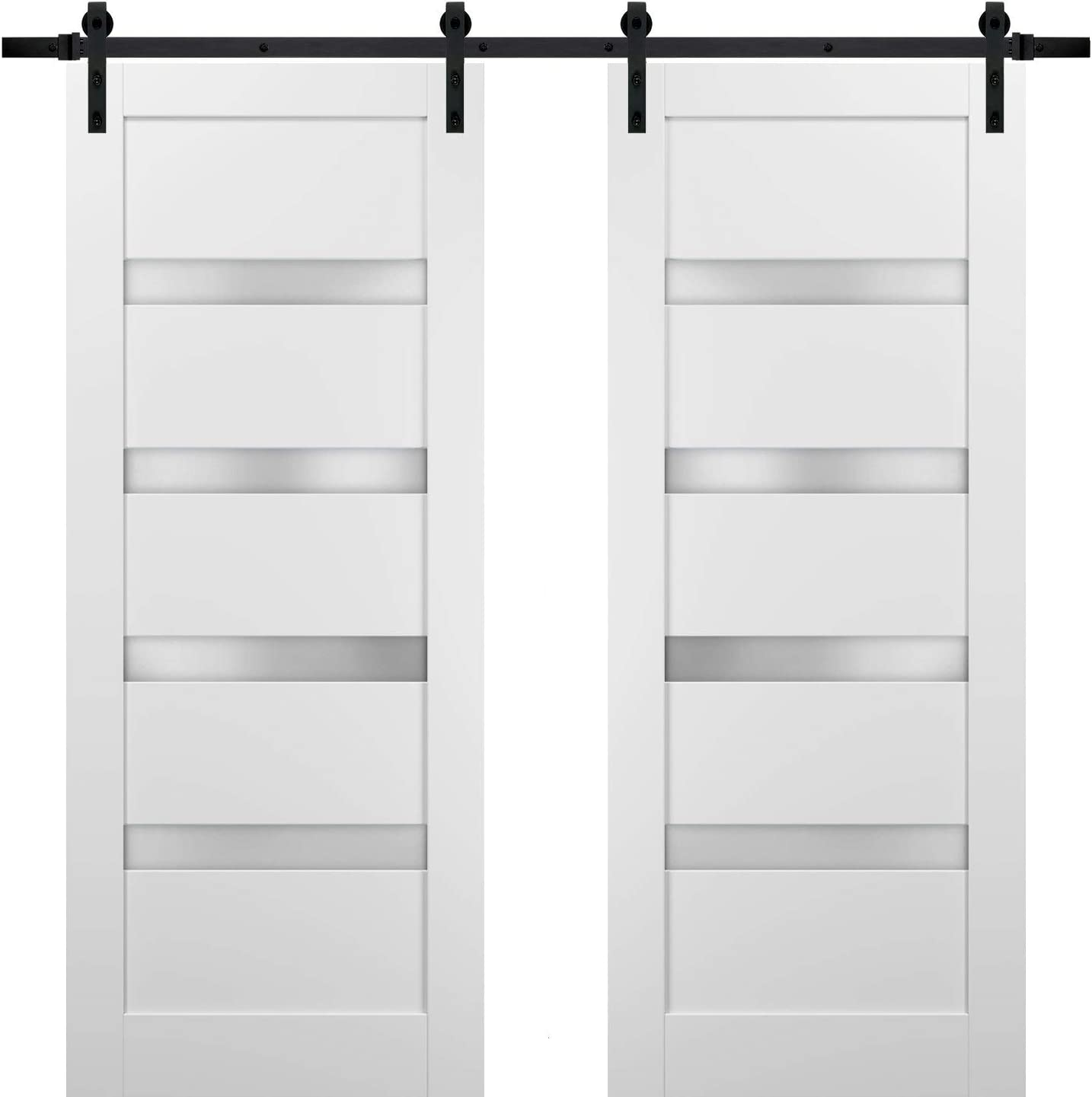 Sliding Double Barn Doors 60 X 96 With Hardware Quadro 4113 White Silk With Frosted Opaque Glass Top Mount 13ft Rail Sturdy Set Kitchen Lite Wooden Solid Panel Interior Bedroom Bathroom Door Amazon Com