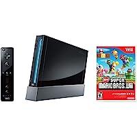 Nintendo Wii Console, Black with New Super Mario Bros Wii (Renewed)