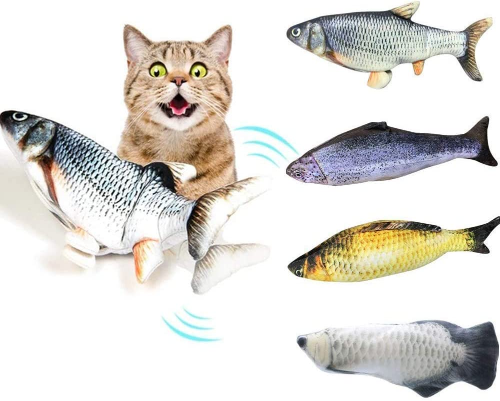 Electric Doll Fish Plush Toy Doll Interactive Pets Pets Pillow Chew Bite Supplies para Cat Kitten Kitty TDORA 4 PCS Fish Catnip Toys for Cats
