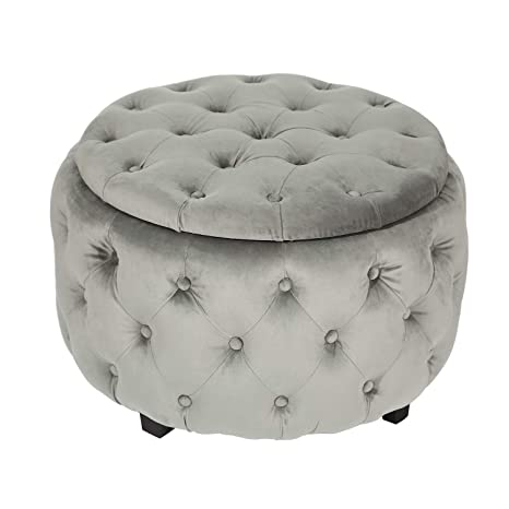Incredible Adeco Round Storage Ottoman Fabric Foot Rest And Seat Modern Button Tufted Wood Legs Height 18 Inch Round Gray Caraccident5 Cool Chair Designs And Ideas Caraccident5Info