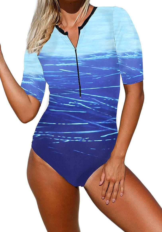 Ocean Plus Donna Costume da Bagno Anteriore con Zip Girocollo Monopezzo a Maniche Corte Costumi da Bagno a Vita Alta Beach Surf Beachwear