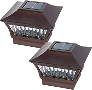 GreenLighting Bronze Aluminum Solar Post Cap Light 4x4 Wood & 6x6 PVC (2 Pack)