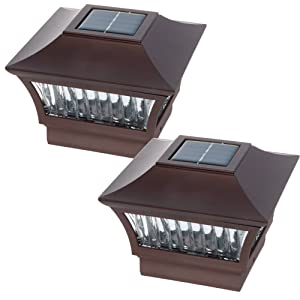 GreenLighting Aluminum Solar Post Cap Light 4x4 Wood or 5x5 PVC (Bronze, 2 Pack)
