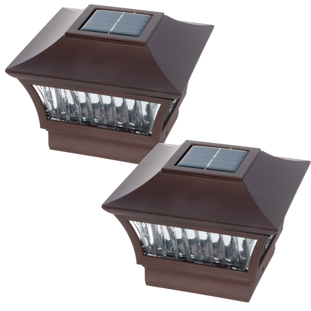 GreenLighting Bronze Aluminum Solar Post Cap Light 4x4 Wood & 6x6 PVC (2 Pack) by GreenLighting