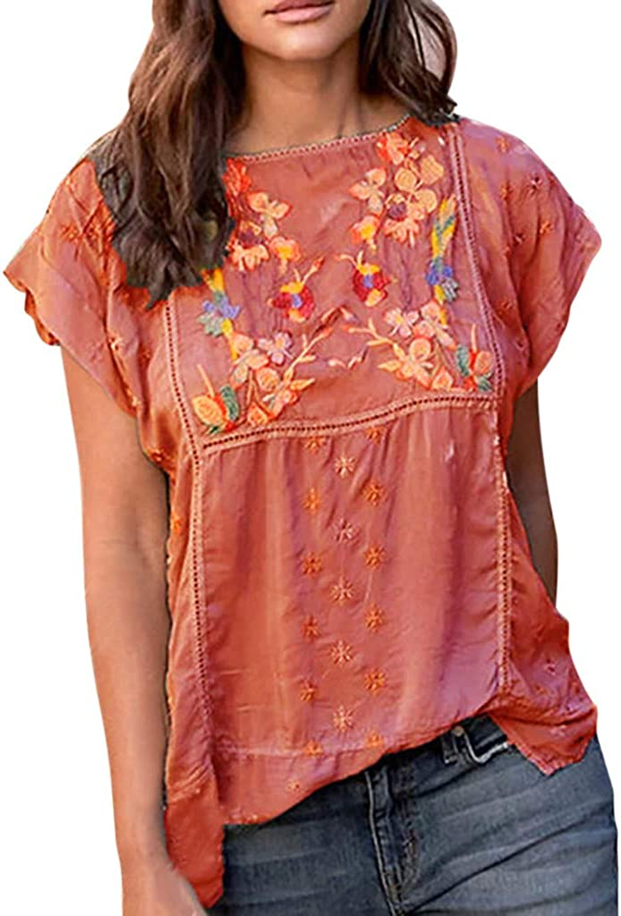 〓Coolcci〓Women'S Embroidery Mexican Bohemian Tops Shirt Tunic Blouses National Style Short Sleeve Loose Blouse obere Tees