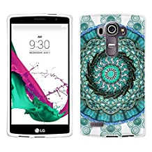 LG G4 Case, Snap On Cover by Trek Mandala Circles Aqua Blue on White Case