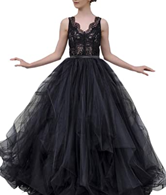 29ffcbd604f Mauwey Vintage Victorian Ruffles Tulle Lace Medieval Gothic Wedding Dresses  Bridal Gown for Women Black