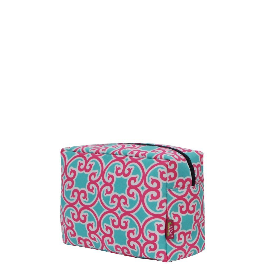 1e3dd6fb29fb Geometric Trellis Vine Print Large Cosmetic Travel Pouch