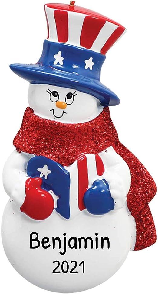 White Christmas 2020 Usa Amazon.com: Personalized Patriotic Snowman Christmas Tree Ornament