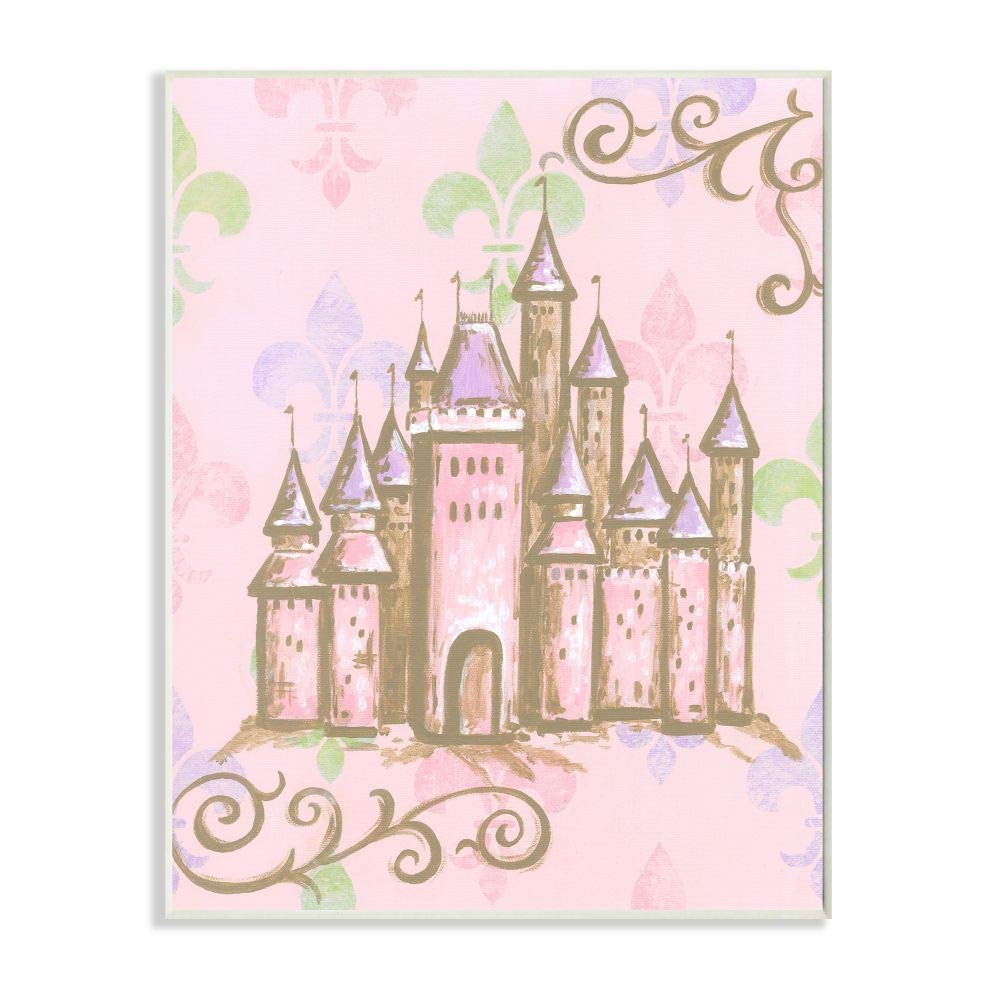 The Kids Room by Stupell Castle with Fleur de Lis on Pink Background Rectangle Wall Plaque