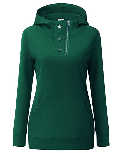 Ca Kra Mujer Otoño Primavera Casual Sudaderas con Capucha de Mujer(Verde Oscuro,XL