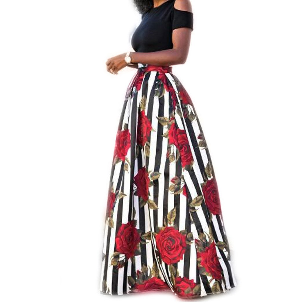 Raylans Women's African Floral Print Two Pieces A Line Long Skirt Maxi Dress M405# M