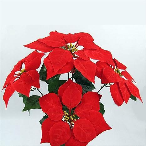 Vivianer No/ël Fleur Artificielles Soie Poinsettia Rouge 5 t/êtes par Bouquet