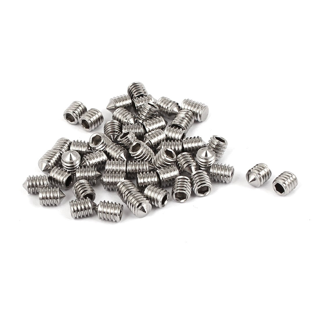 sourcingmap® M4 x 5 mm de acero inoxidable 304 de punta cónica hueca hexagonal de Tornillo sin cabeza 50 pcs a16012900ux0668